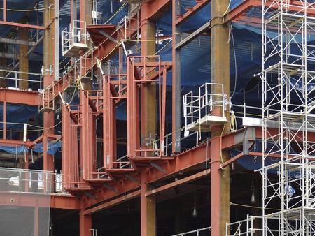 鉄骨建設建設サイト 写真素材