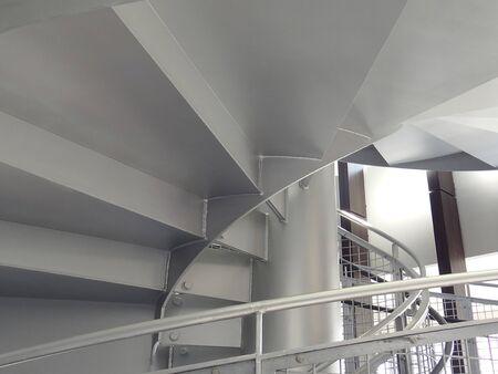鉄板の螺旋階段 写真素材