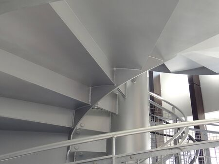 Spiral staircase of iron plate