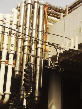 Pipeline of building air conditioning equipment Banco de Imagens