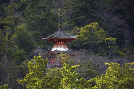 Of Itsukushima shrine pagoda Stock Photo