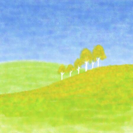 yellow hills: Green tree
