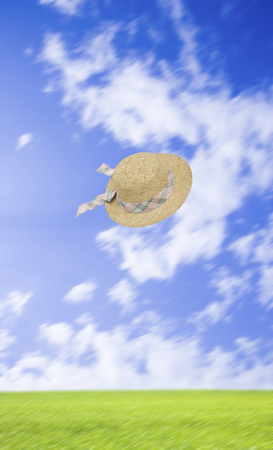 chapeau paille: Blue sky and grassland and straw hat Banque d'images