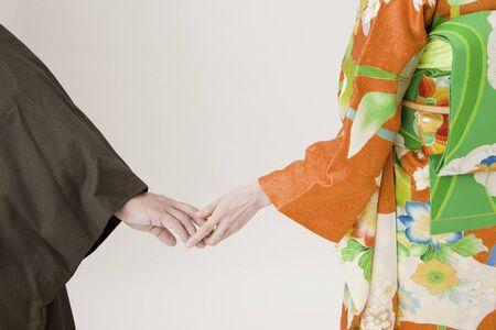 hold ups: Kimono men and women Stock Photo