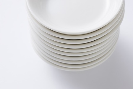 neatness: White dish large number Stock Photo