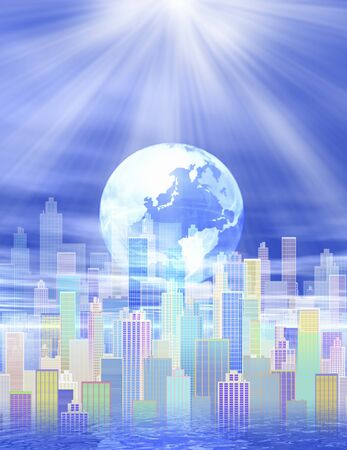 globalism: City and the Earth Stock Photo