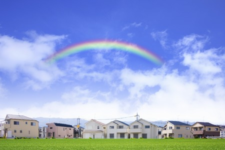 residential area: Residential area and rainbow