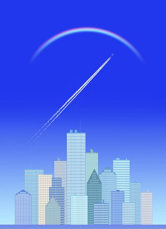 contrail: Buildings and contrail and rainbow Stock Photo