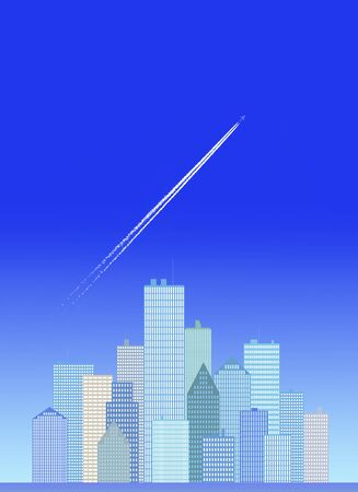 sky rise: Buildings and contrail