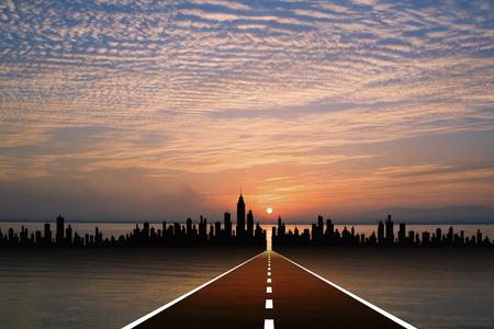 evening sky: Road