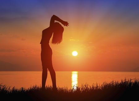 Sunrise and female silhouette Stok Fotoğraf - 46280868