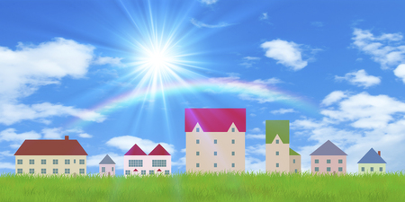 fine weather: Quarters and grassland and the rainbow