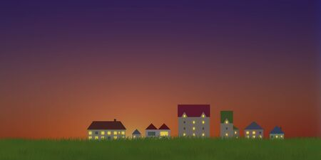 early in the evening: Dusk of the streets and grassland Stock Photo