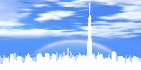 rainbow sky: Sky tree and rainbow