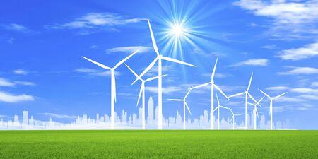 Grassland and wind power windmill