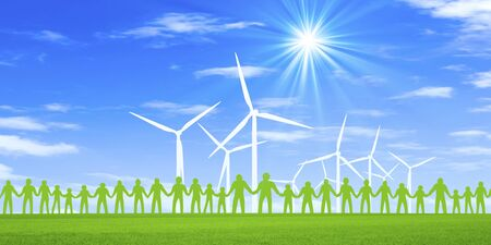 windpower: Grassland and wind power generation windmill and people Stock Photo