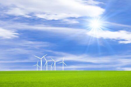 windpower: Grassland and wind power windmill