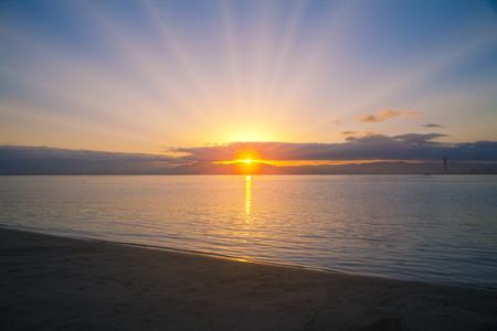 amanecer: Amanecer Lago Foto de archivo