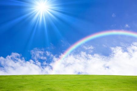青空と虹と太陽 写真素材