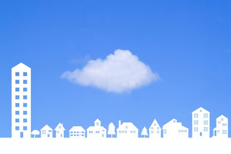 gaping: Gaping clouds and Town Stock Photo