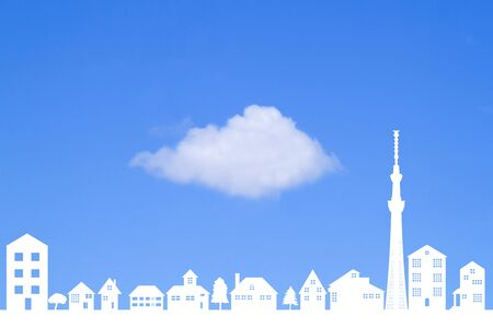 residency: Gaping clouds and Town Stock Photo