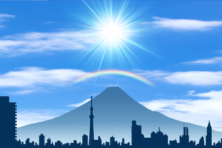 スカイツリーと富士山 写真素材