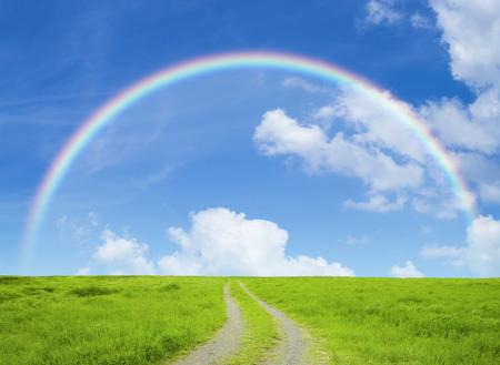 Graslanden weg en blauwe hemel Stockfoto - 42377458