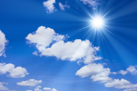 gleaming: Blue sky and Sun Stock Photo
