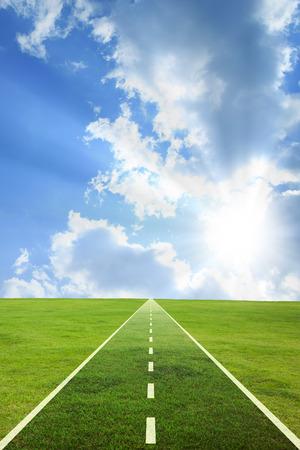 straight path: Grassland and road