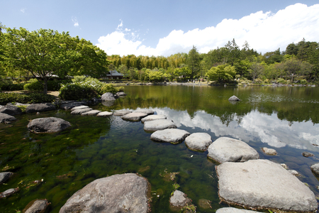 Pond and stone