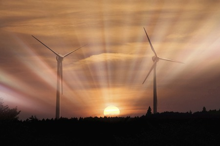 energia eolica: La generaci�n de energ�a e�lica Foto de archivo