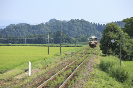 Akita inland jukan railway Ugo-ta station 版權商用圖片