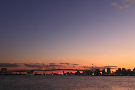 rainbow bridge: Tokyo port of Rainbow Bridge Sunset Panorama