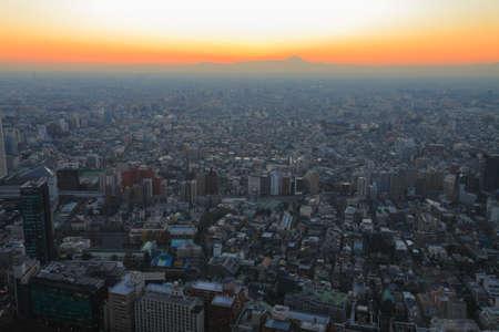afterglow: Fuji sunset afterglow Stock Photo