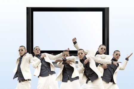 big screen tv: Men to the LCD TV and dance