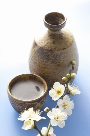 japanese sake: Sake japon�s y flor del ciruelo
