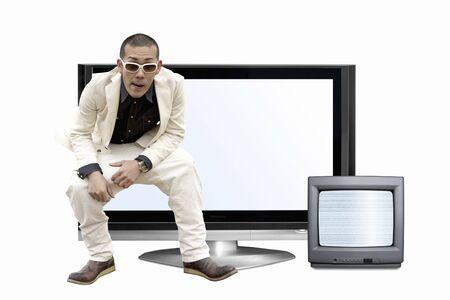 big screen tv: TV and men Stock Photo