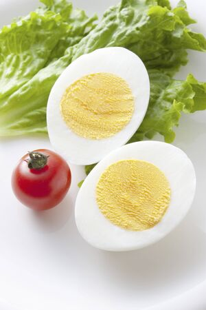 frugality: Hard boiled eggs Stock Photo