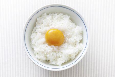 frugality: Egg on rice Stock Photo