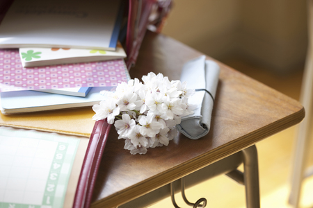 underlay: It was placed on the desk bag and cherry blossoms