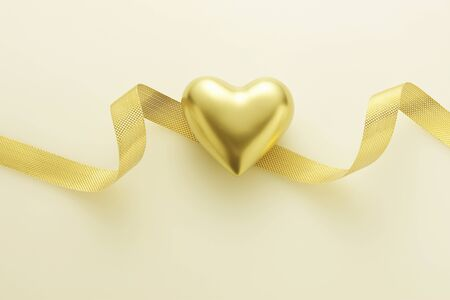 Gold heart and Ribbon 写真素材