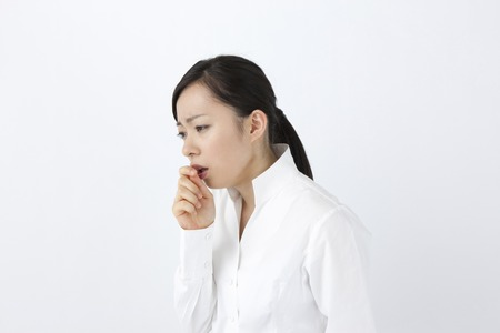 cough: Female cough Stock Photo