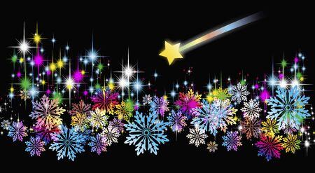 shooting stars: Crystal of shooting stars and snow