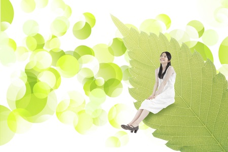 synthesis: Woman sitting on leaves