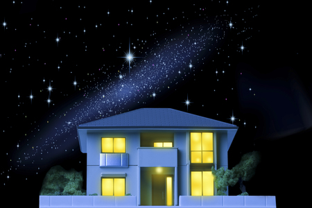 light house: Model of the starry sky and the house