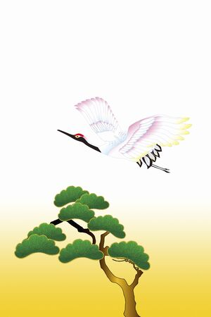 pin arbre: Crane and pine tree