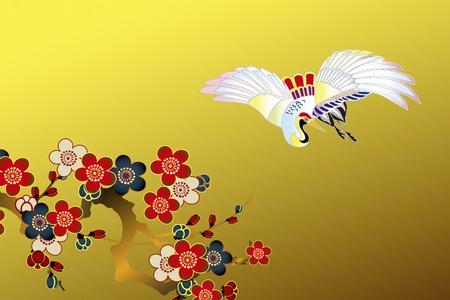 bird illustration: Plum flowers and crane
