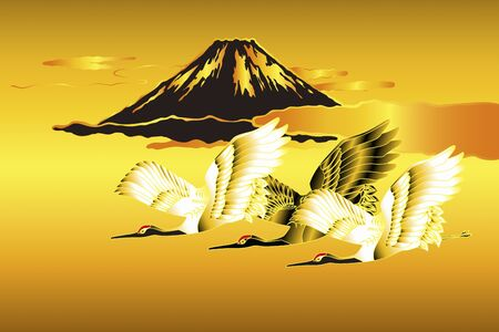 world heritage: Mt. Fuji and cranes