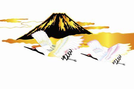 Mt. Fuji and cranes