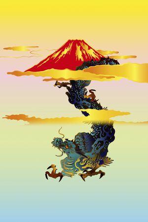southwest asia: Dragon and Mt. Fuji